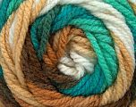 Fiber Content 100% Acrylic, White, Turquoise, Mint Green, Brand Ice Yarns, Brown Shades, Yarn Thickness 4 Medium  Worsted, Afghan, Aran, fnt2-46969