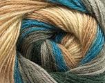Fiber Content 60% Acrylic, 40% Merino Wool, Teal, Brand Ice Yarns, Grey Shades, Cream, Camel, Yarn Thickness 2 Fine  Sport, Baby, fnt2-47024