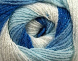 Fiber Content 95% Acrylic, 5% Lurex, White, Brand Ice Yarns, Blue Shades, Yarn Thickness 3 Light  DK, Light, Worsted, fnt2-47993