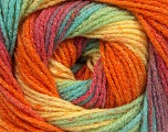 Fiber Content 95% Acrylic, 5% Lurex, Yellow, Turquoise, Salmon, Orange, Lilac, Brand Ice Yarns, Green, Yarn Thickness 3 Light  DK, Light, Worsted, fnt2-48134
