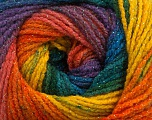 Fiber Content 95% Acrylic, 5% Lurex, Yellow, Teal, Purple, Orange, Brand Ice Yarns, Green, Blue, Yarn Thickness 3 Light  DK, Light, Worsted, fnt2-48182