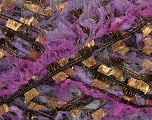 Fiber Content 50% Polyamide, 47% Polyester, 3% Metallic Lurex, Lilac Shades, Brand Ice Yarns, Gold, Black, Yarn Thickness 5 Bulky  Chunky, Craft, Rug, fnt2-49392