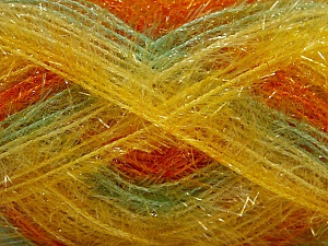 Fiber Content 100% Polyester, Yellow, Orange, Mint Green, Brand ICE, Yarn Thickness 4 Medium  Worsted, Afghan, Aran, fnt2-57395