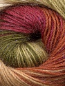 Fiber Content 57% Premium Acrylic, 3% Metallic Lurex, 20% Wool, 20% Mohair, Brand ICE, Green Shades, Burgundy, Brown, Yarn Thickness 2 Fine  Sport, Baby, fnt2-50321