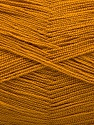 Very thin yarn. It is spinned as two threads. So you will knit as two threads. Yardage information is for only one strand. Состав пряжи 100% Акрил, Brand Ice Yarns, Dark Gold, fnt2-54694