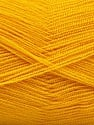 Very thin yarn. It is spinned as two threads. So you will knit as two threads. Yardage information is for only one strand. Fiber Content 100% Acrylic, Brand Ice Yarns, Gold, Yarn Thickness 1 SuperFine  Sock, Fingering, Baby, fnt2-54695