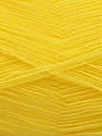 Very thin yarn. It is spinned as two threads. So you will knit as two threads. Yardage information is for only one strand. Fasergehalt 100% Acryl, Brand Ice Yarns, Canary Yellow, fnt2-54697