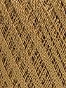 Ne: 10/3 Nm: 17/3 Fiber Content 96% Mercerised Cotton, 4% Metallic Lurex, Brand Ice Yarns, Gold, Camel, Yarn Thickness 1 SuperFine  Sock, Fingering, Baby, fnt2-54759
