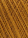 Ne: 10/3 Nm: 17/3 Fiber Content 96% Mercerised Cotton, 4% Metallic Lurex, Brand Ice Yarns, Dark Gold, Yarn Thickness 1 SuperFine  Sock, Fingering, Baby, fnt2-56319