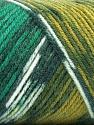 Fasergehalt 50% Acryl, 50% Wolle, Yellow, White, Brand Ice Yarns, Green Shades, fnt2-56451