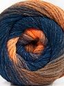Fiber Content 90% Acrylic, 10% Polyamide, Orange Shades, Navy, Brand ICE, Yarn Thickness 4 Medium  Worsted, Afghan, Aran, fnt2-58121