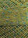 Fiber Content 70% Polyester, 30% Metallic Lurex, Brand YarnArt, Rainbow, Green, Yarn Thickness 0 Lace  Fingering Crochet Thread, fnt2-17358