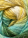 Fiber Content 95% Acrylic, 5% Lurex, Yellow, White, Turquoise, Brand ICE, Green, Yarn Thickness 3 Light  DK, Light, Worsted, fnt2-22055