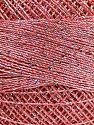 Fiber indhold 70% Polyester, 30% Metallisk Lurex, Silver, Salmon, Brand Ice Yarns, Yarn Thickness 0 Lace  Fingering Crochet Thread, fnt2-40707