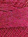 Fiber indhold 70% Polyester, 30% Metallisk Lurex, Brand Ice Yarns, Gold, Fuchsia, Yarn Thickness 0 Lace  Fingering Crochet Thread, fnt2-40709
