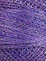 Fiber indhold 70% Polyester, 30% Metallisk Lurex, Silver, Lilac, Brand Ice Yarns, Blue, Yarn Thickness 0 Lace  Fingering Crochet Thread, fnt2-41696