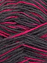 Fiber Content 75% Superwash Wool, 25% Polyamide, Brand Ice Yarns, Fuchsia, Dark Grey, Yarn Thickness 1 SuperFine  Sock, Fingering, Baby, fnt2-45329