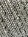 Fiber Content 95% Viscose, 5% Metallic Lurex, White, Silver, Brand Ice Yarns, fnt2-45785