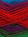 This is a self-striping yarn. Please see package photo for the color combination. Fiber Content 100% Acrylic, Turquoise, Red, Purple, Brand Ice Yarns, Green, Burgundy, Yarn Thickness 3 Light  DK, Light, Worsted, fnt2-46819